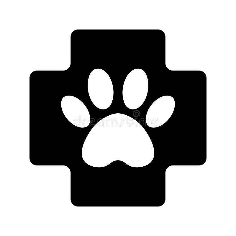 Черный крест со значком символа заботы лапки ветеринарным ветеринарный знак фармации бесплатная иллюстрация