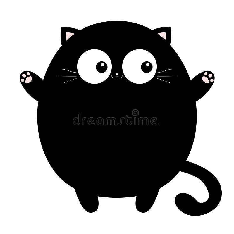 Черный круглый денежный мешок готовый для обнимать Открытая печать лапки пинка руки Киска достигая для объятия Смешное животное K иллюстрация штока