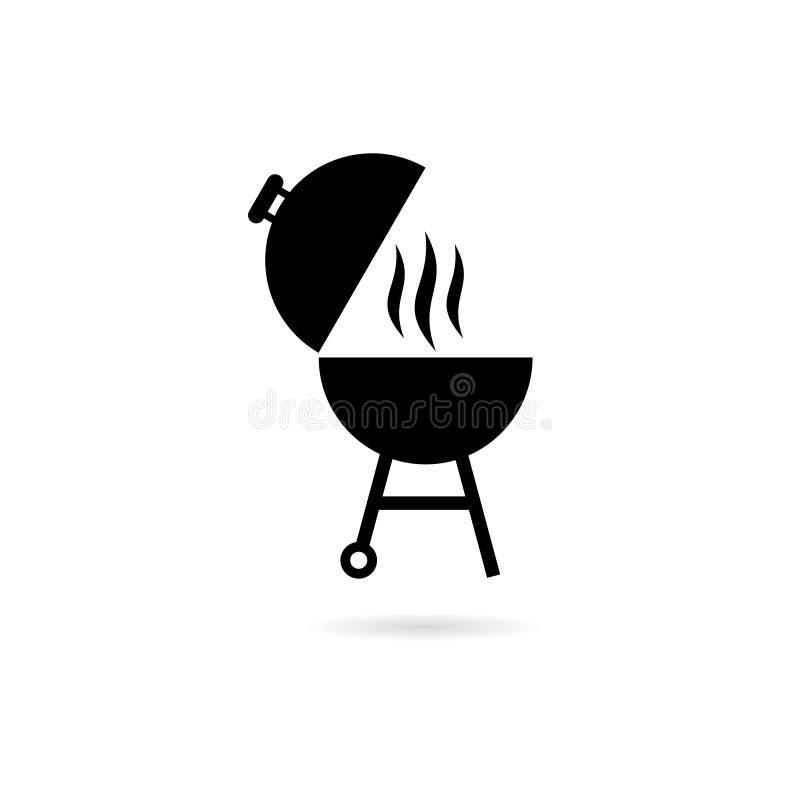 Черный логотип партии барбекю BBQ иллюстрация вектора