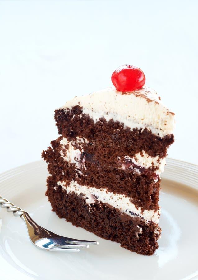 черный ломтик пущи торта стоковые изображения rf