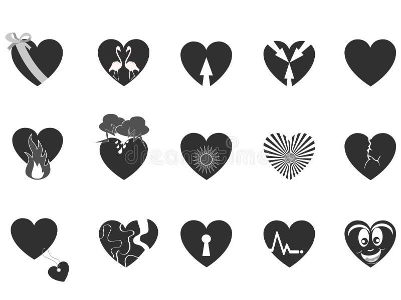 черный любить иконы сердца иллюстрация вектора