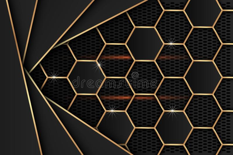 Черный металлический лист с краями золота на черной сетке как предпосылка бесплатная иллюстрация