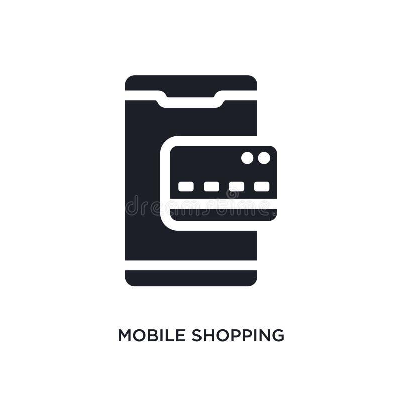 черный мобильный ходя по магазинам изолированный значок вектора простая иллюстрация элемента от мобильных значков вектора концепц иллюстрация вектора