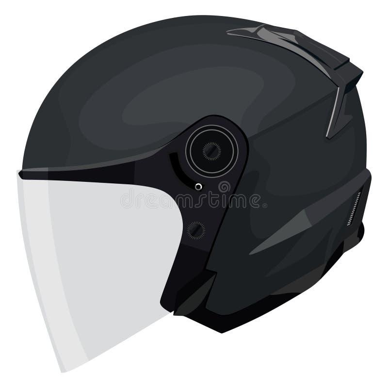черный мотоцикл шлема иллюстрация вектора