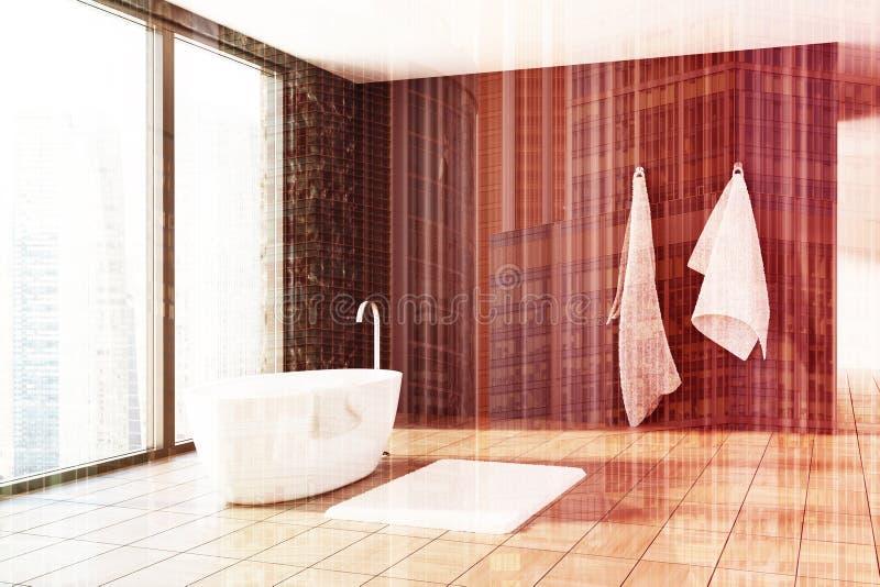 Черный мрамор и деревянная ванная комната, белый тонизированный ушат иллюстрация штока