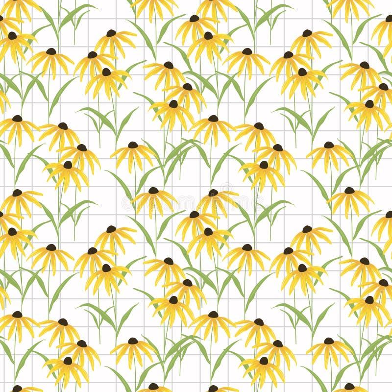 Черный наблюданный вектор картины цветка Susan безшовный иллюстрация штока
