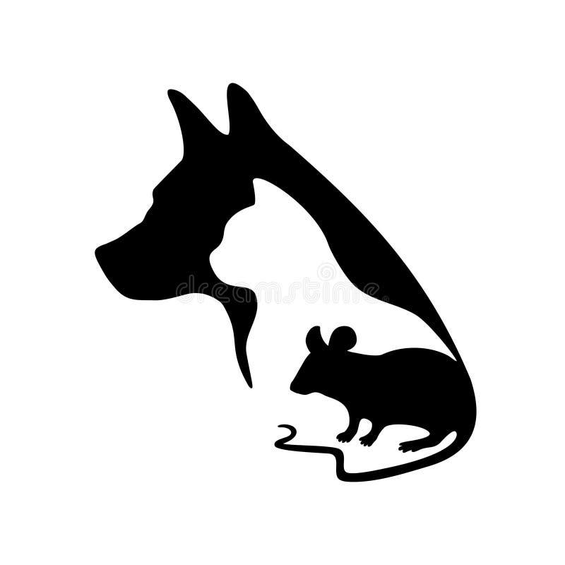 Черный логотип для ветеринарных клиники и зоомагазина Vector силуэт собаки, кота и мыши на белой предпосылке иллюстрация штока