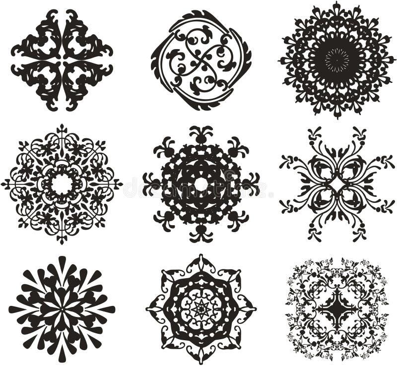 черный орнамент иллюстрации иллюстрация штока