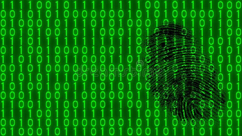 Черный отпечаток пальцев на цифровой предпосылке картины бинарного кода стоковое изображение
