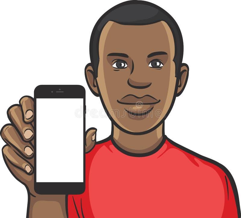 Черный парень показывая передвижной app на умном телефоне иллюстрация вектора