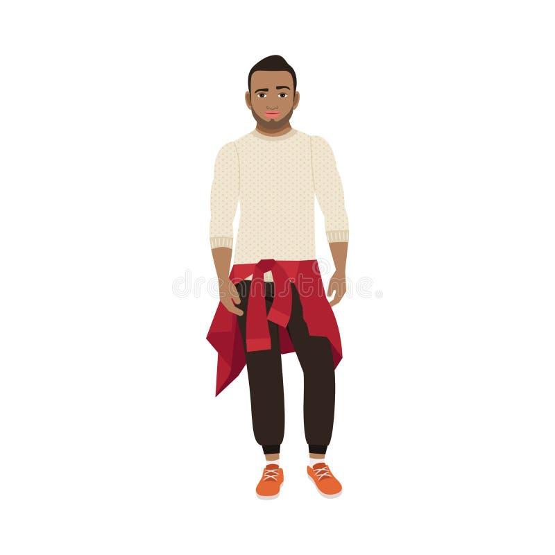 Черный парень с связанным свитером иллюстрация штока