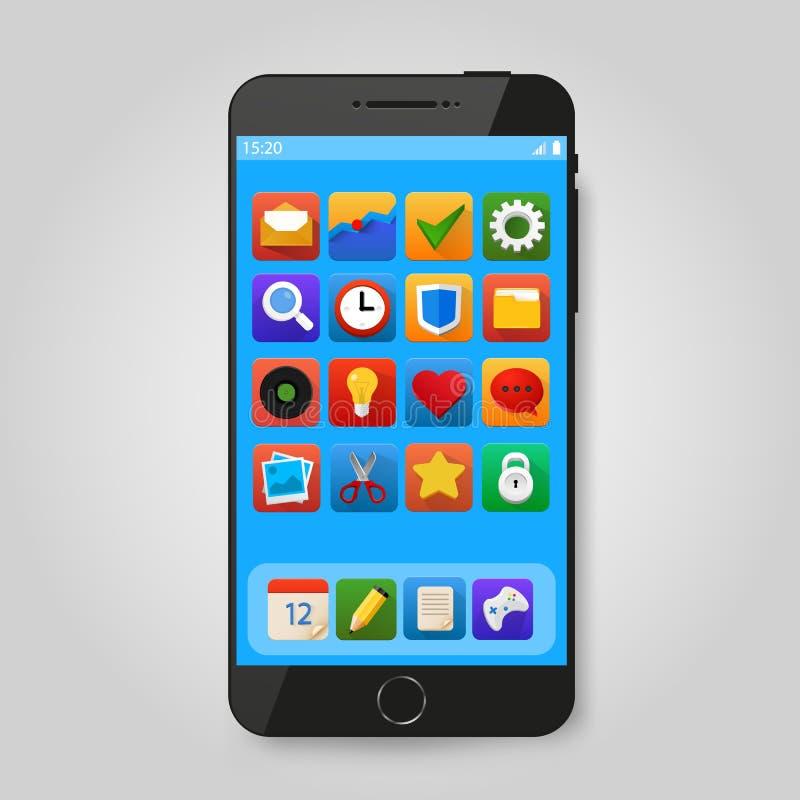 Черный передвижной умный телефон с значком app Представление применения Smartphone передвижное иллюстрация вектора