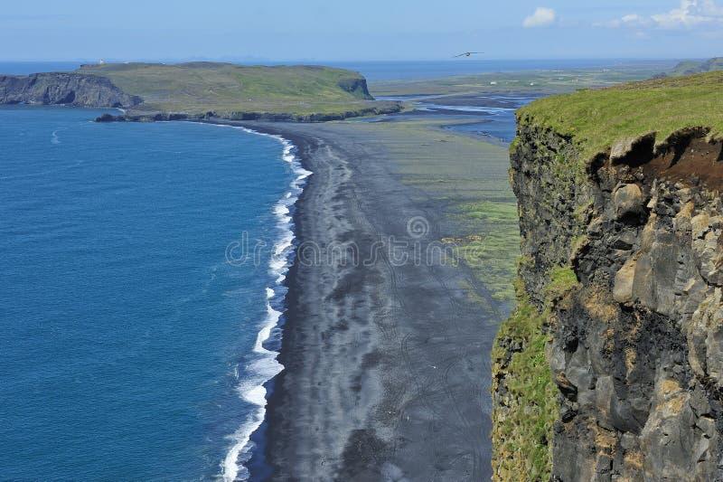 черный песок Исландии свободного полета вулканический стоковое изображение rf