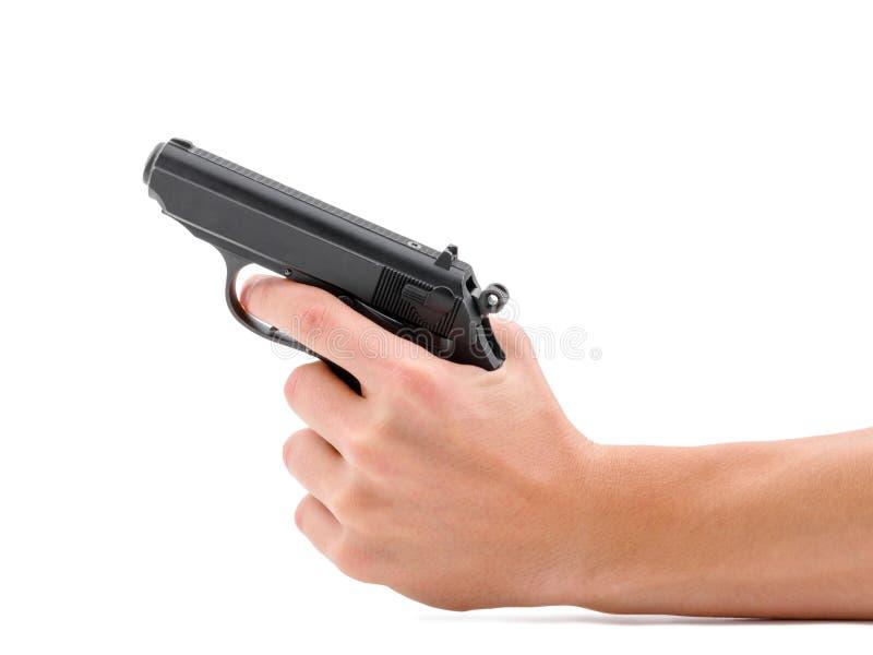 Черный пистолет оружия изолированный на белой предпосылке стоковые изображения rf