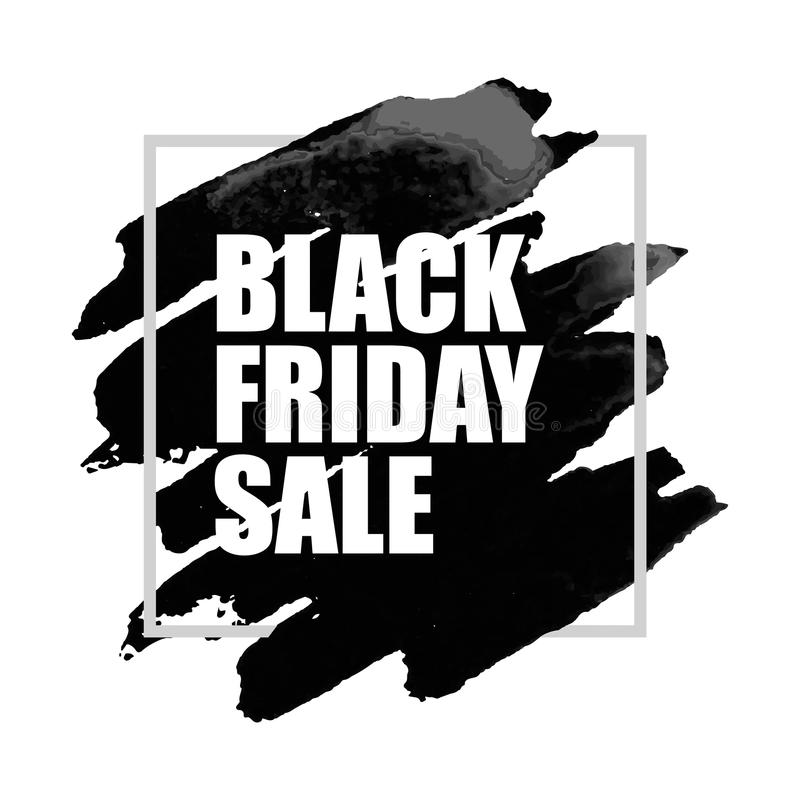 Черный плакат продажи пятницы с пятном акварели на белой предпосылке иллюстрация штока
