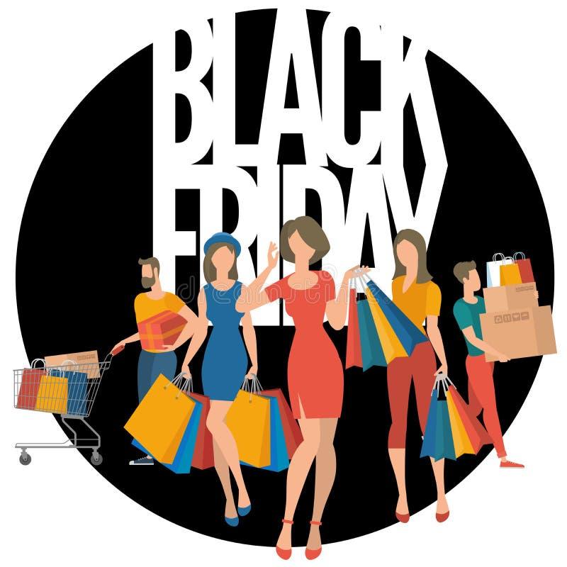 Черный плакат продажи пятницы иллюстрация штока