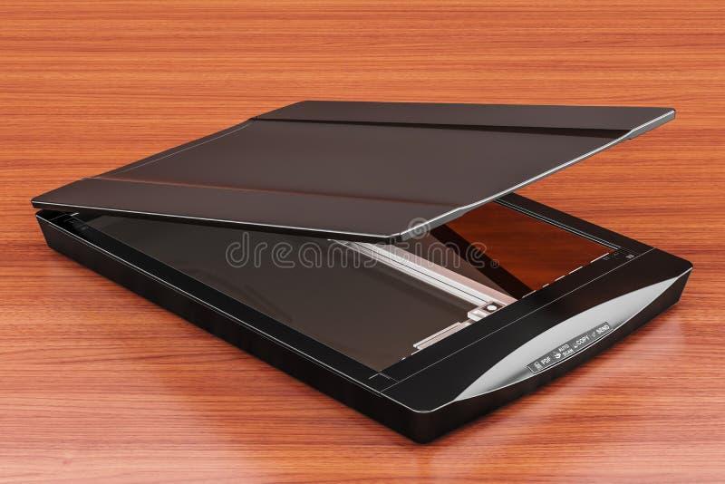 Черный планшетный сканер, перевод 3D изолированный на деревянном столе бесплатная иллюстрация