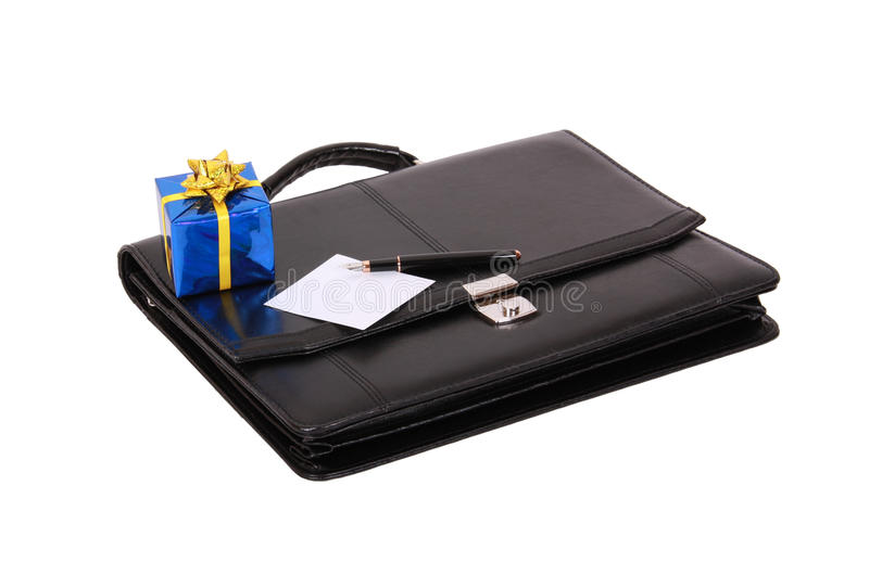 черный подарок портфеля стоковая фотография