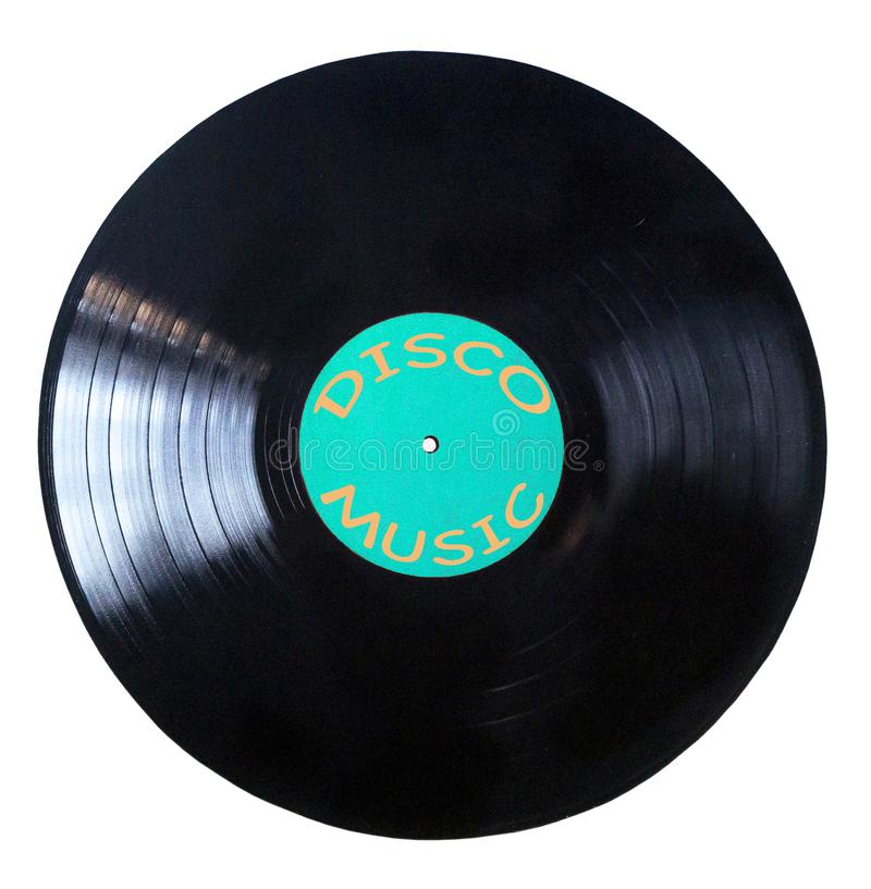 Черный показатель винила изолированный на белой предпосылке - музыке диско стоковое изображение