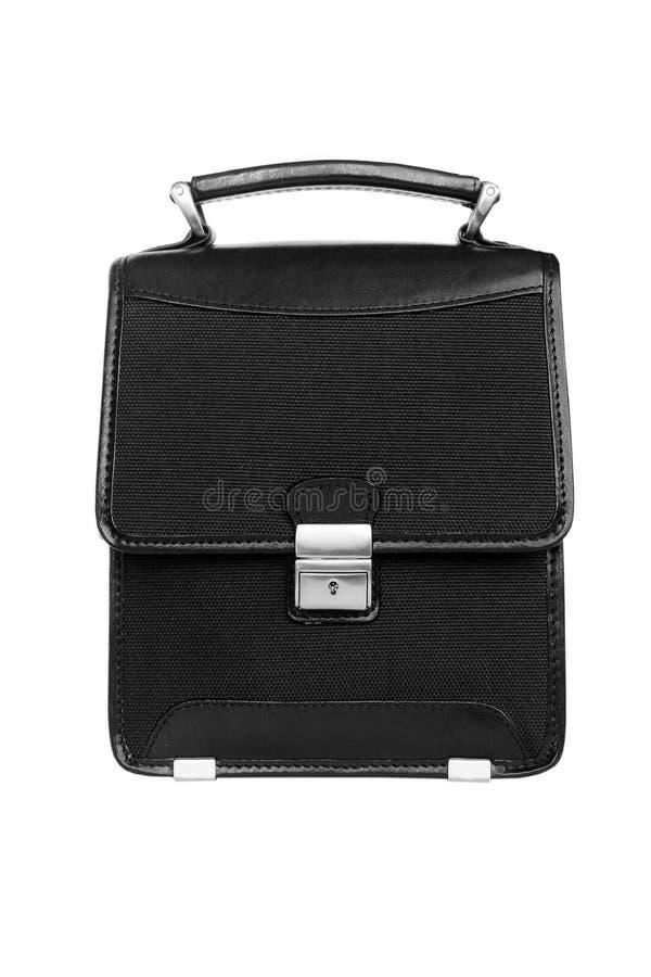 черный портфель изолировал стоковое изображение