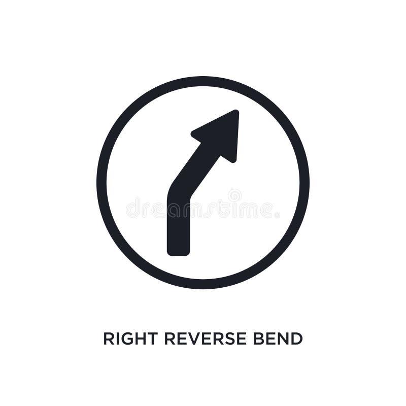черный правый значок вектора обратного загиба изолированный простая иллюстрация элемента от значков вектора концепции дорожных зн иллюстрация штока