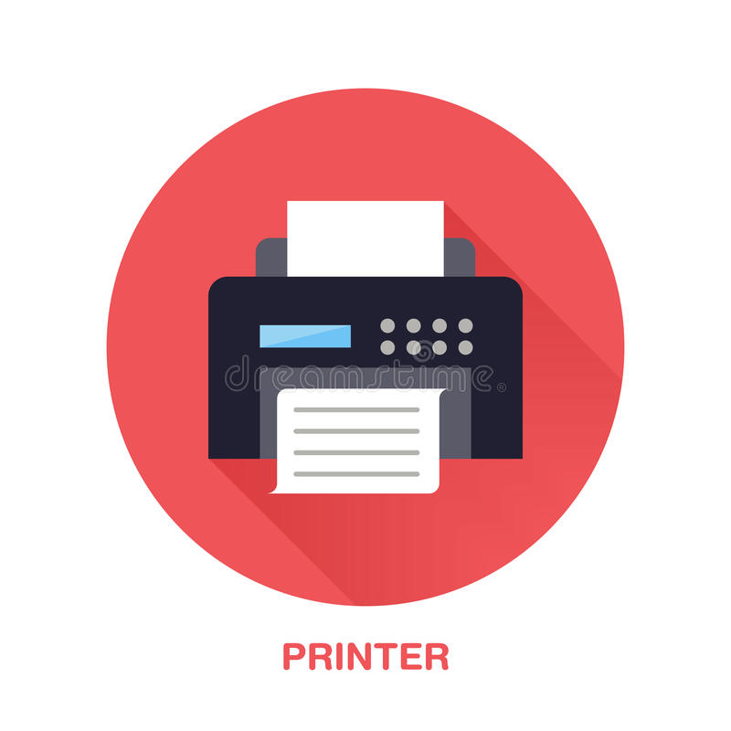 Черный принтер с значком стиля бумажной страницы плоским Беспроводная технология, знак конторских машин Иллюстрация вектора иллюстрация вектора