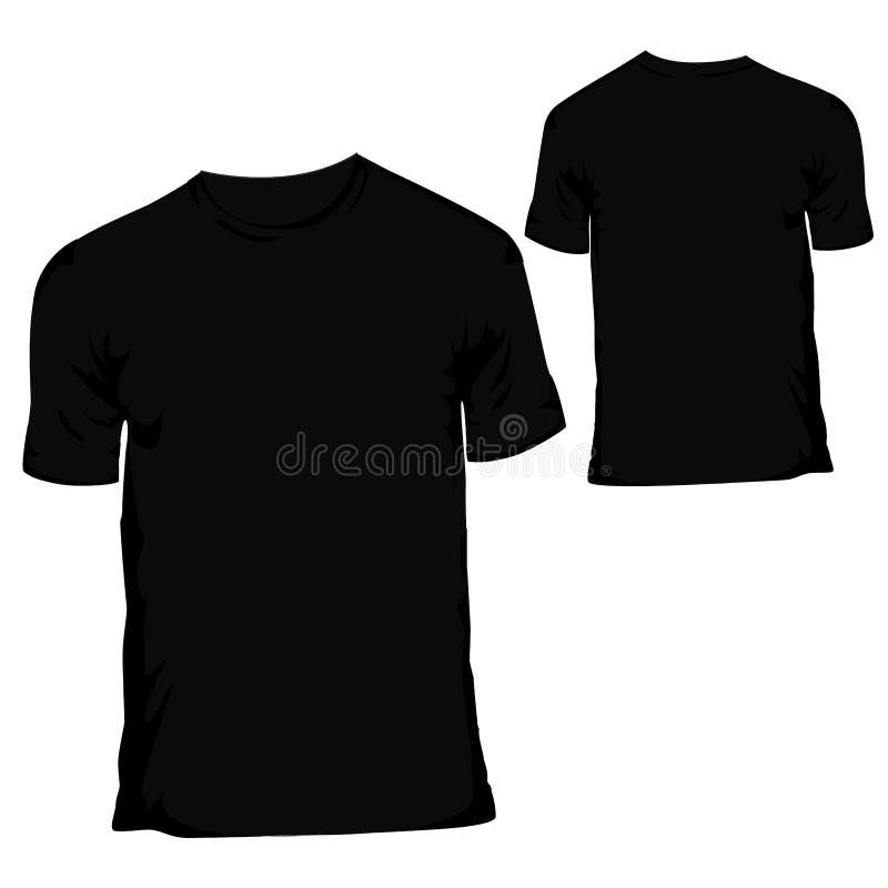 Черный пустой шаблон конструкции тенниски для мужская одежда иллюстрация штока