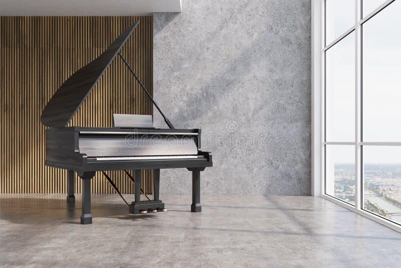 Черный рояль в конкретной и деревянной комнате бесплатная иллюстрация