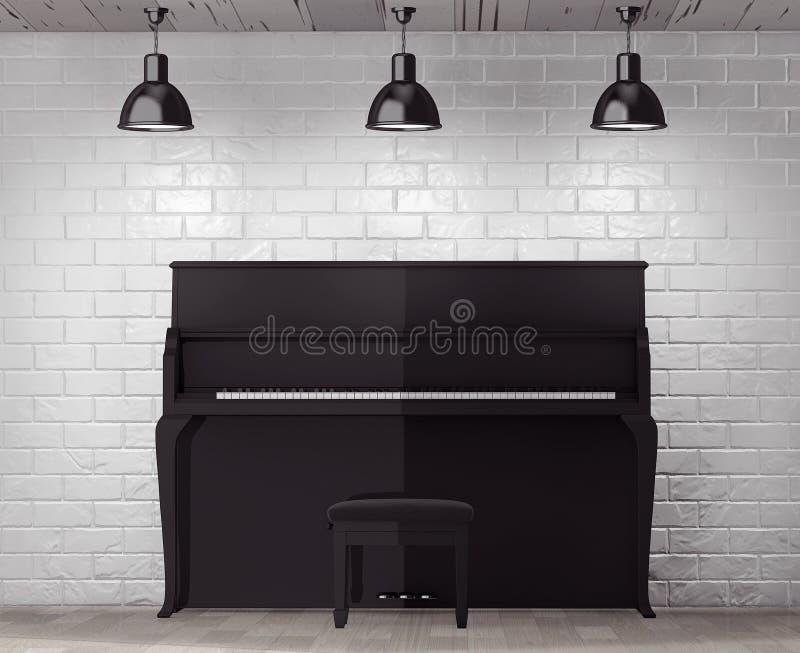 Черный рояль перед кирпичной стеной с пустой рамкой стоковые изображения rf