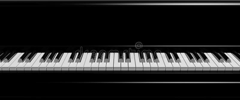 Черный рояль пользуется ключом вид спереди иллюстрация вектора