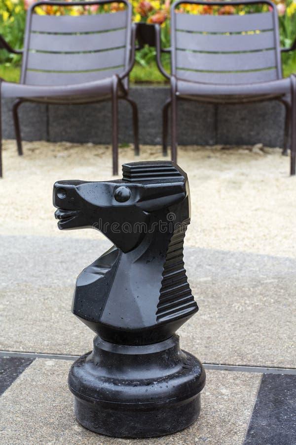 Черный рыцарь шахмат на доске улицы стоковое изображение