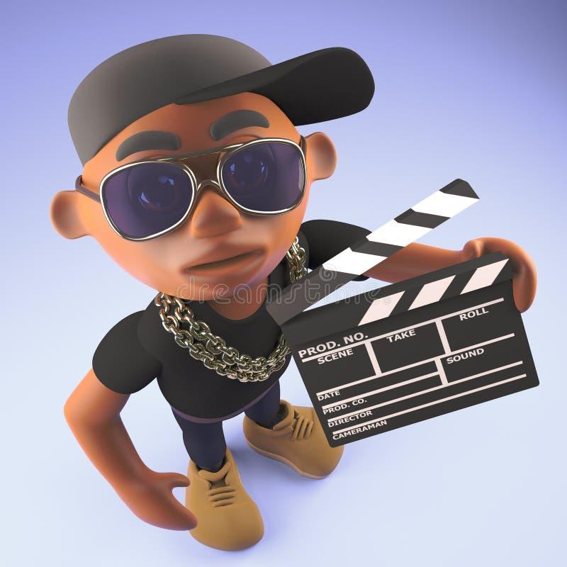 Черный рэп-исполнитель hiphop в бейсбольной кепке держа шифер фильма, иллюстрацию 3d иллюстрация штока