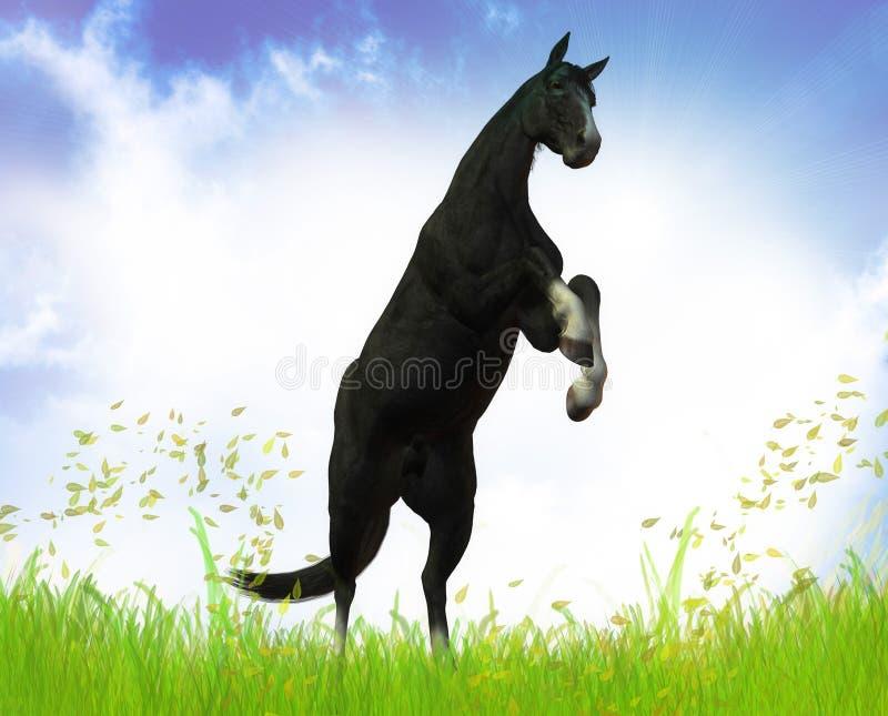 черный свободный жеребец иллюстрация вектора