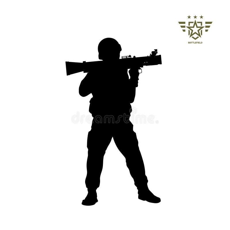Черный силуэт американского солдата с ракетной установкой Армия США Военный с оружием гранаты Изолированный воин иллюстрация штока