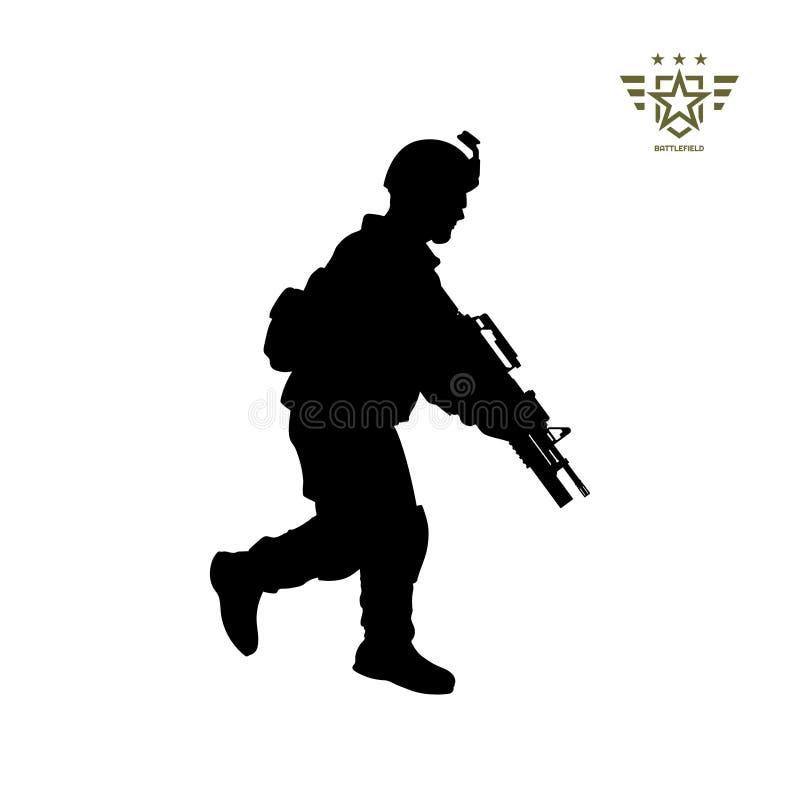 Черный силуэт бега американского солдата Армия США Военный с оружием Изолированное изображение воина иллюстрация вектора
