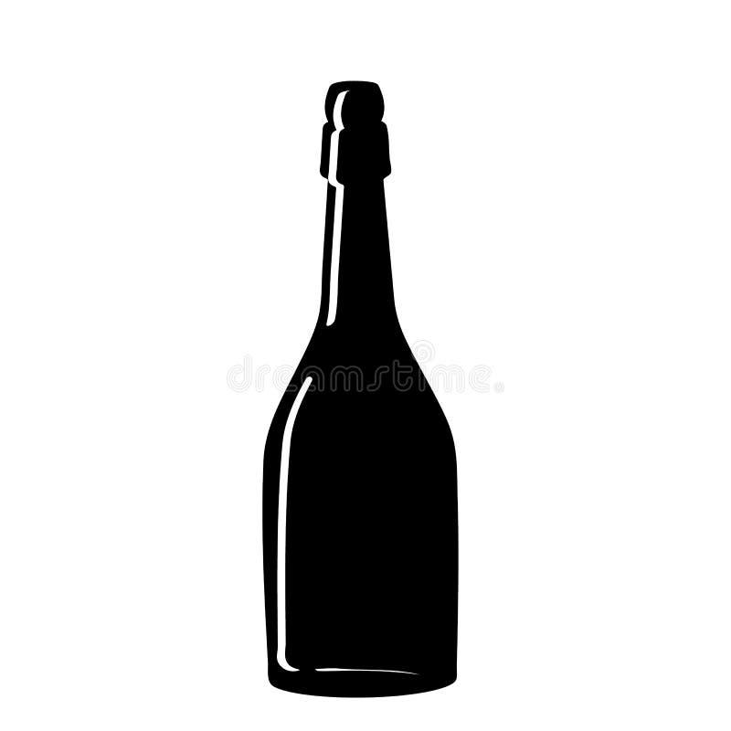 Черный силуэт бутылки шампанского iconography вектор бесплатная иллюстрация