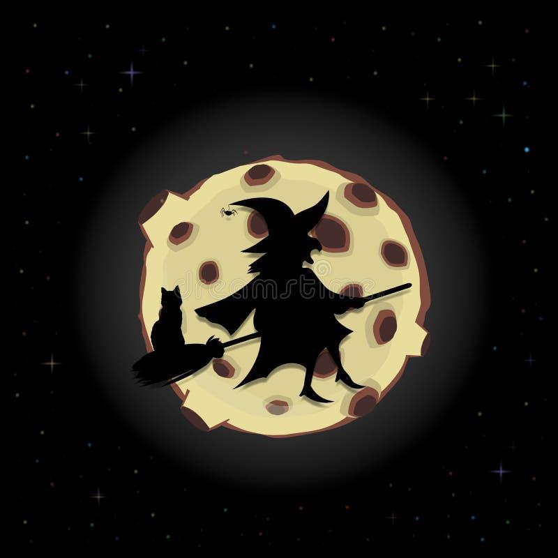 Черный силуэт ведьмы на венике с летанием кота на предпосылке ночного неба с польностью желтой луной иллюстрация вектора
