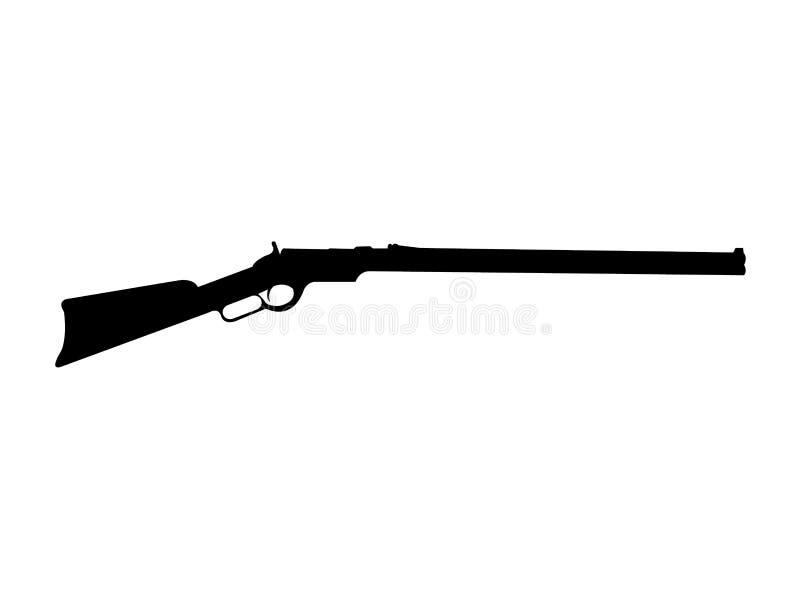 Черный силуэт винтовки Винчестер бесплатная иллюстрация