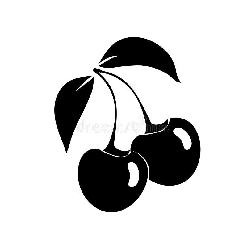 Черный силуэт вишни Значок, изолированный на белой предпосылке вектор бесплатная иллюстрация