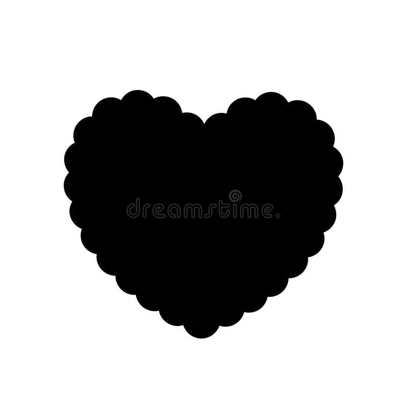 Черный силуэт волнистого сердца изолированный на белой предпосылке иллюстрация вектора