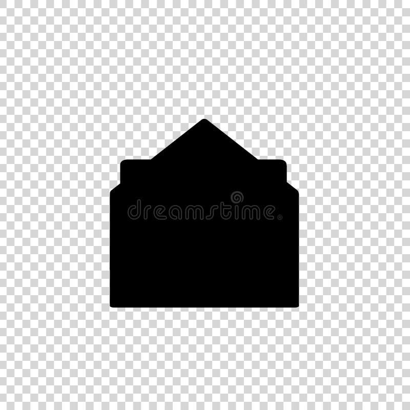 Черный силуэт значка открытого конверта с документом на прозрачной предпосылке иллюстрация штока