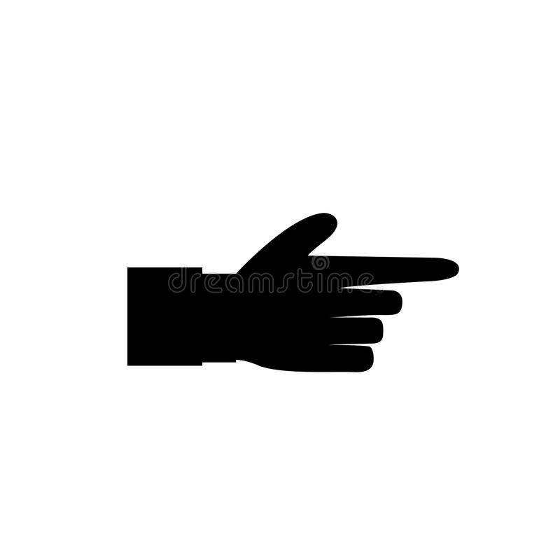 Черный силуэт значка указывать в сторону палец изолированный на белой предпосылке иллюстрация вектора