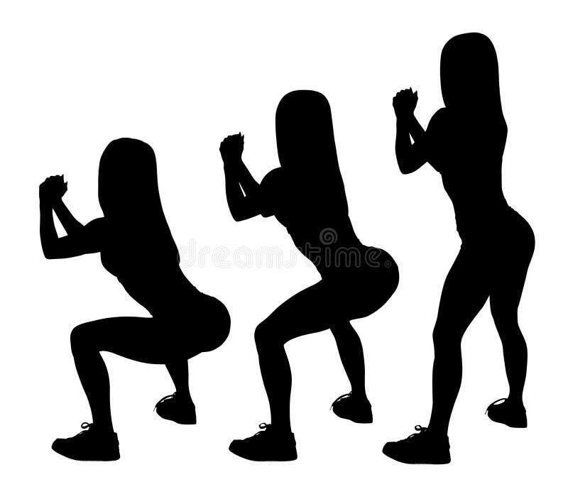 Черный силуэт комплекта sporty женщины делая сидения на корточках бесплатная иллюстрация