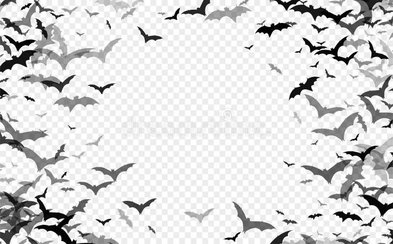 Черный силуэт летучих мышей изолированных на прозрачной предпосылке Элемент дизайна хеллоуина традиционный также вектор иллюстрац иллюстрация вектора