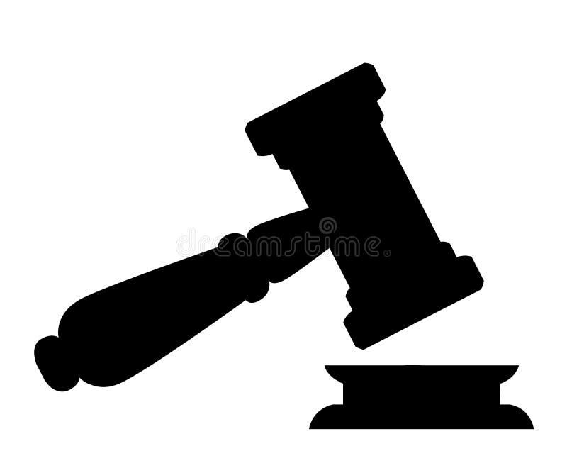 Черный силуэт молотка древесины судьи Молоток в стиле шаржа Церемониальный мушкел для аукциона, суждения Isolat иллюстрации векто бесплатная иллюстрация