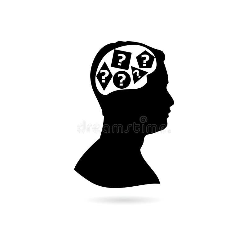 Черный силуэт мужской стороны с вопросами, мужским главным профилем и вопросительными знаками значком или логотипом иллюстрация вектора
