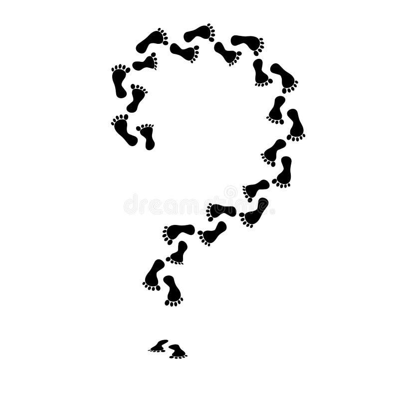 черный силуэт Нога вопросительного знака Человеческий след ноги икона Изолированный на белом векторе предпосылки иллюстрация штока