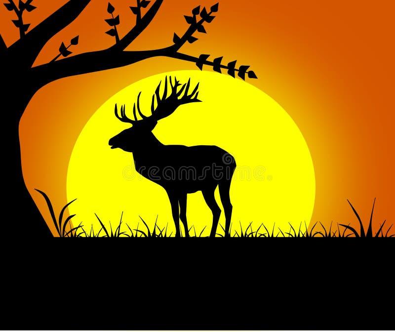 черный силуэт оленей иллюстрация штока