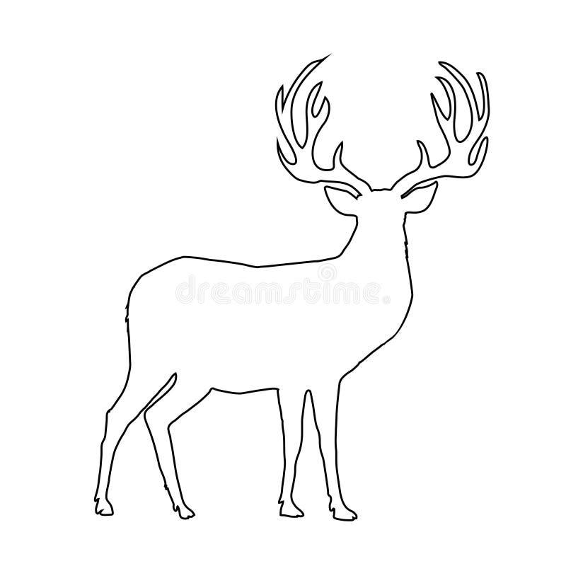 Черный силуэт плана северного оленя с большими рожками на белой предпосылке бесплатная иллюстрация