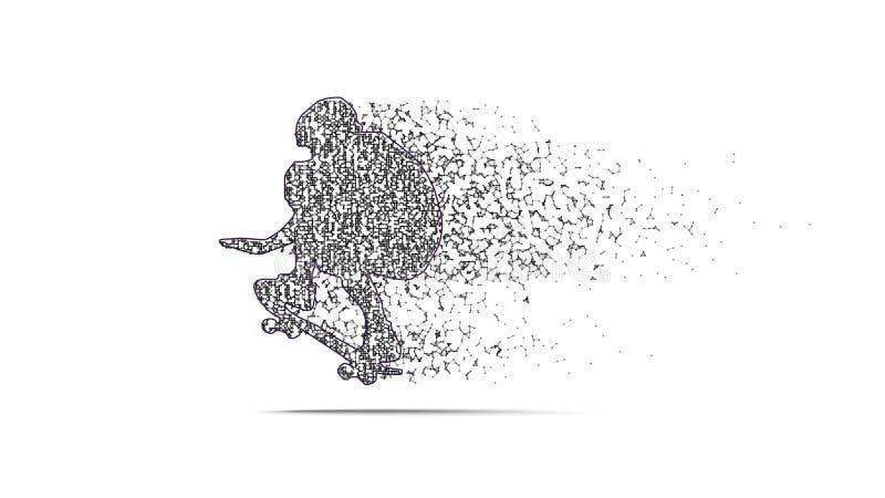 Черный силуэт скейтбордиста бесплатная иллюстрация
